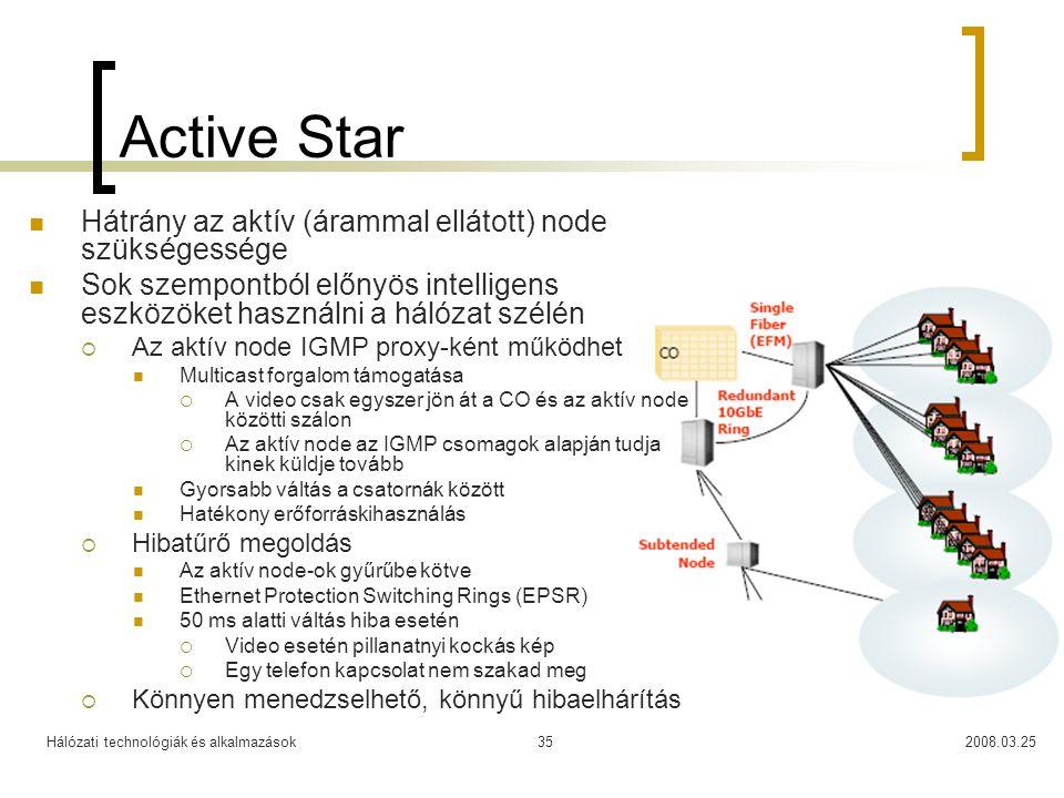 Active Star Hátrány az aktív (árammal ellátott) node szükségessége