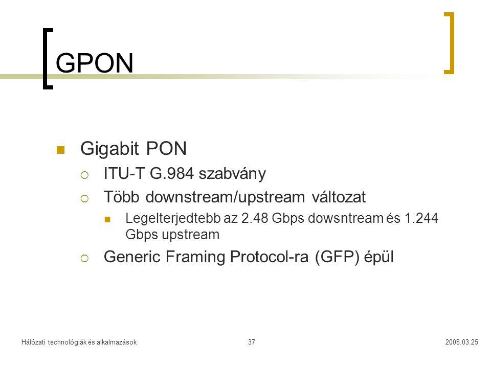 GPON Gigabit PON ITU-T G.984 szabvány