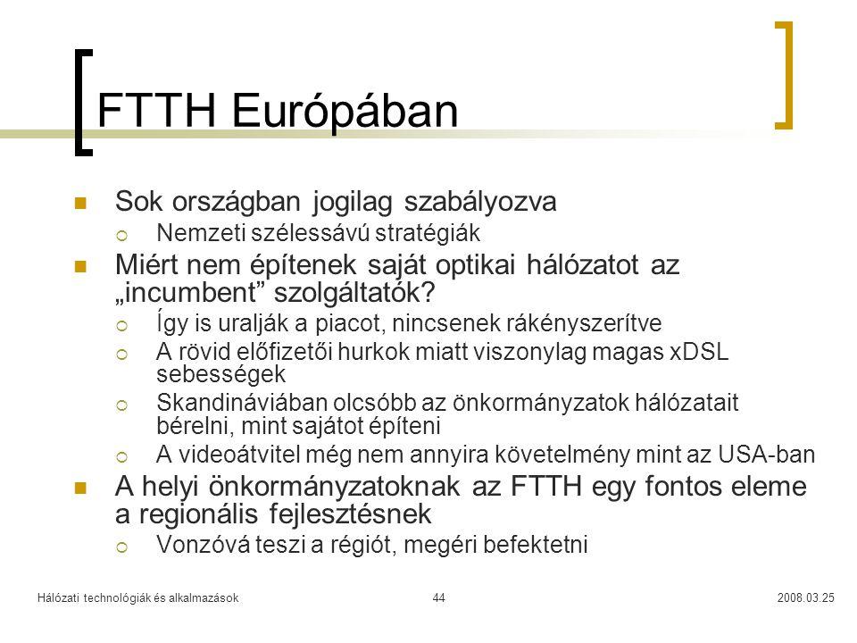 FTTH Európában Sok országban jogilag szabályozva