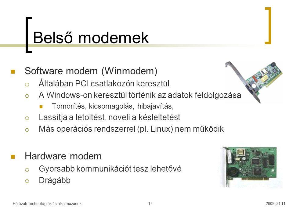 Belső modemek Software modem (Winmodem) Hardware modem