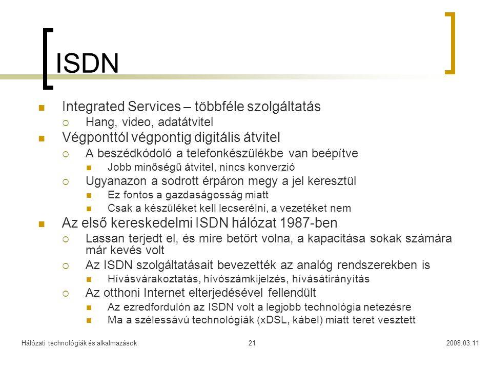 ISDN Integrated Services – többféle szolgáltatás
