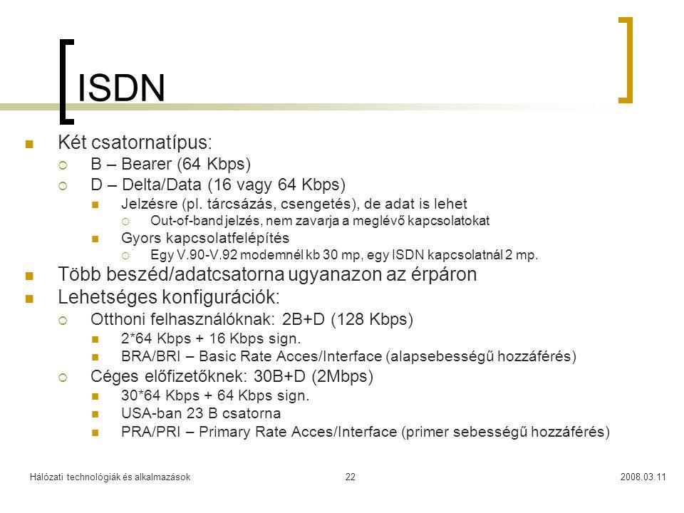 ISDN Két csatornatípus: Több beszéd/adatcsatorna ugyanazon az érpáron