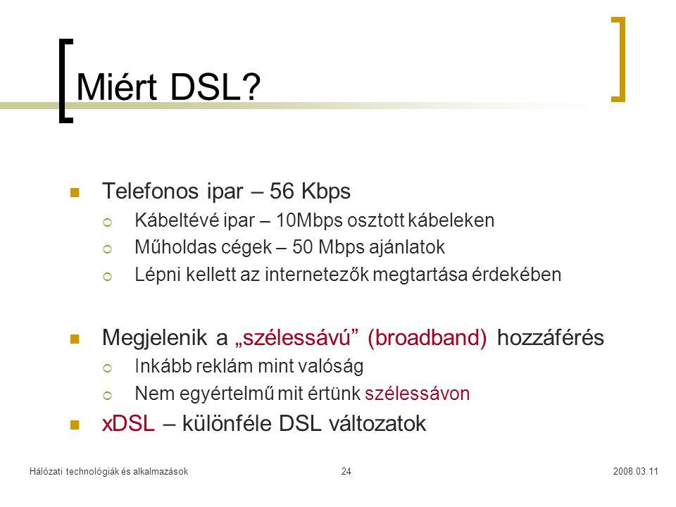 Miért DSL Telefonos ipar – 56 Kbps
