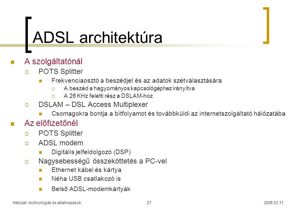 ADSL architektúra A szolgáltatónál Az előfizetőnél POTS Splitter