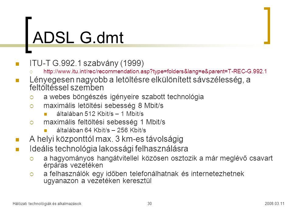 ADSL G.dmt ITU-T G.992.1 szabvány (1999)