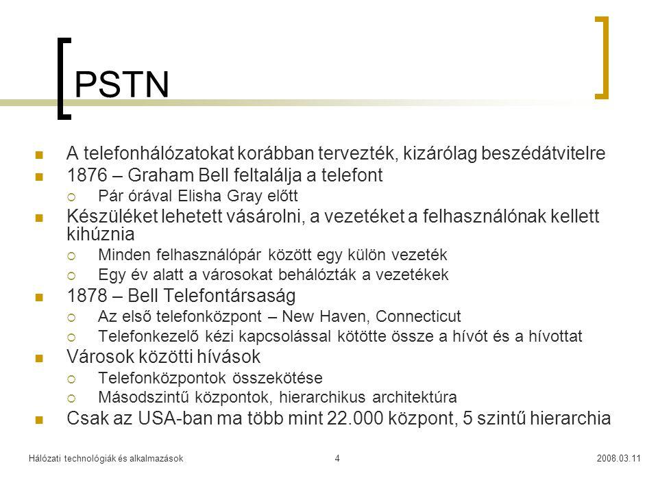PSTN A telefonhálózatokat korábban tervezték, kizárólag beszédátvitelre. 1876 – Graham Bell feltalálja a telefont.