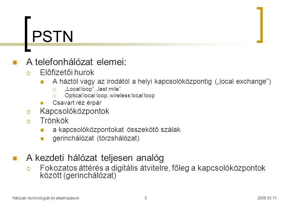 PSTN A telefonhálózat elemei: A kezdeti hálózat teljesen analóg