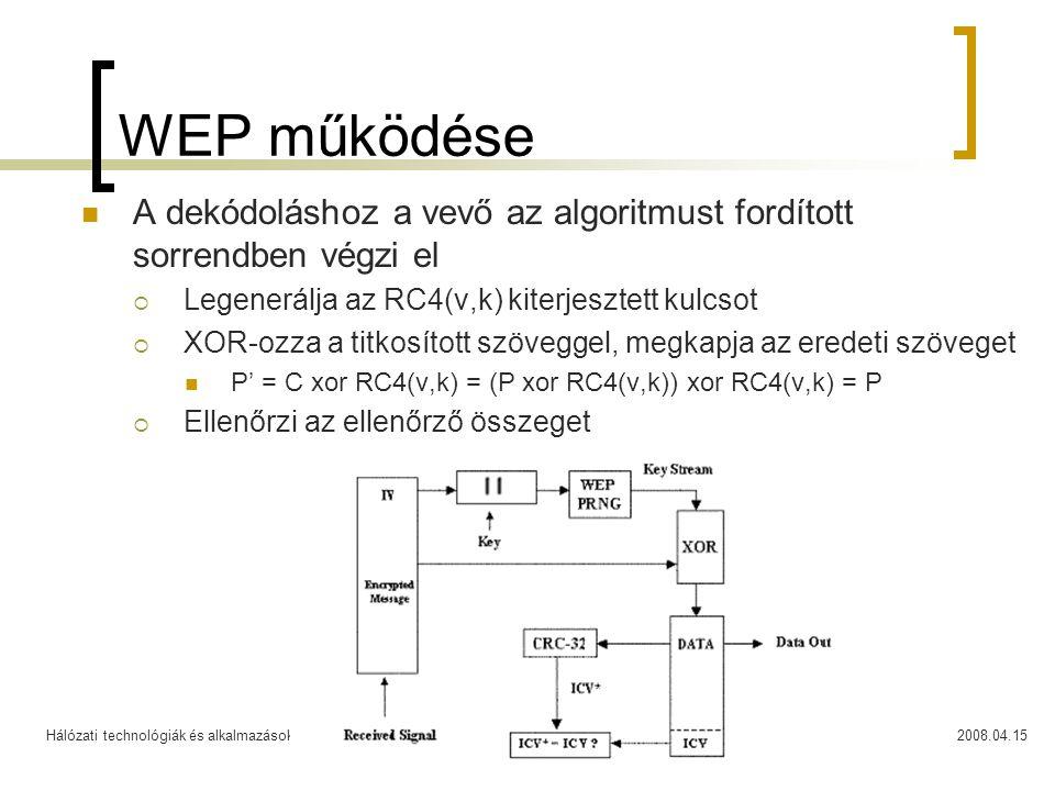 WEP működése A dekódoláshoz a vevő az algoritmust fordított sorrendben végzi el. Legenerálja az RC4(v,k) kiterjesztett kulcsot.