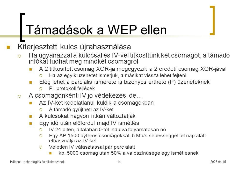 Támadások a WEP ellen Kiterjesztett kulcs újrahasználása