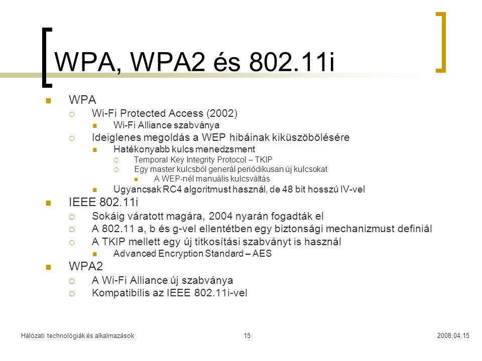 WPA, WPA2 és 802.11i WPA IEEE 802.11i WPA2