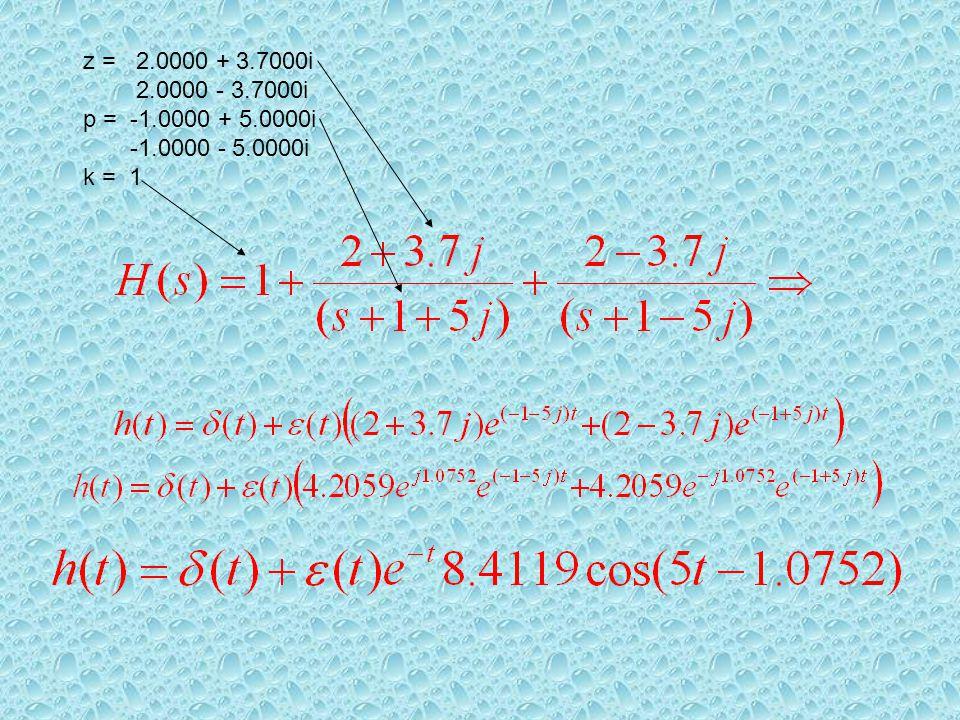 z = 2.0000 + 3.7000i 2.0000 - 3.7000i p = -1.0000 + 5.0000i -1.0000 - 5.0000i k = 1