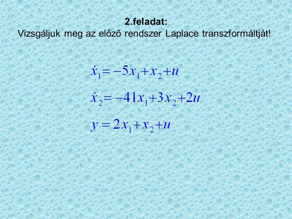 2.feladat: Vizsgáljuk meg az előző rendszer Laplace transzformáltját!