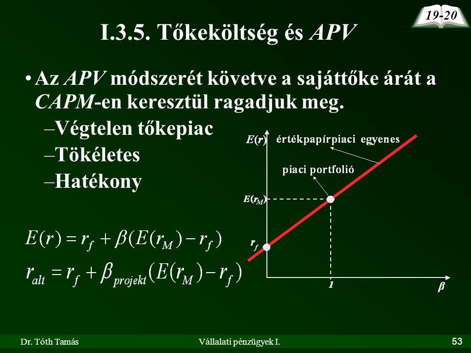 19-20 I.3.5. Tőkeköltség és APV. Az APV módszerét követve a sajáttőke árát a CAPM-en keresztül ragadjuk meg.