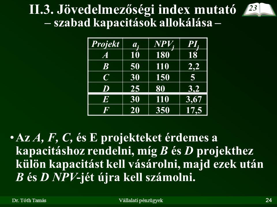 II.3. Jövedelmezőségi index mutató – szabad kapacitások allokálása –