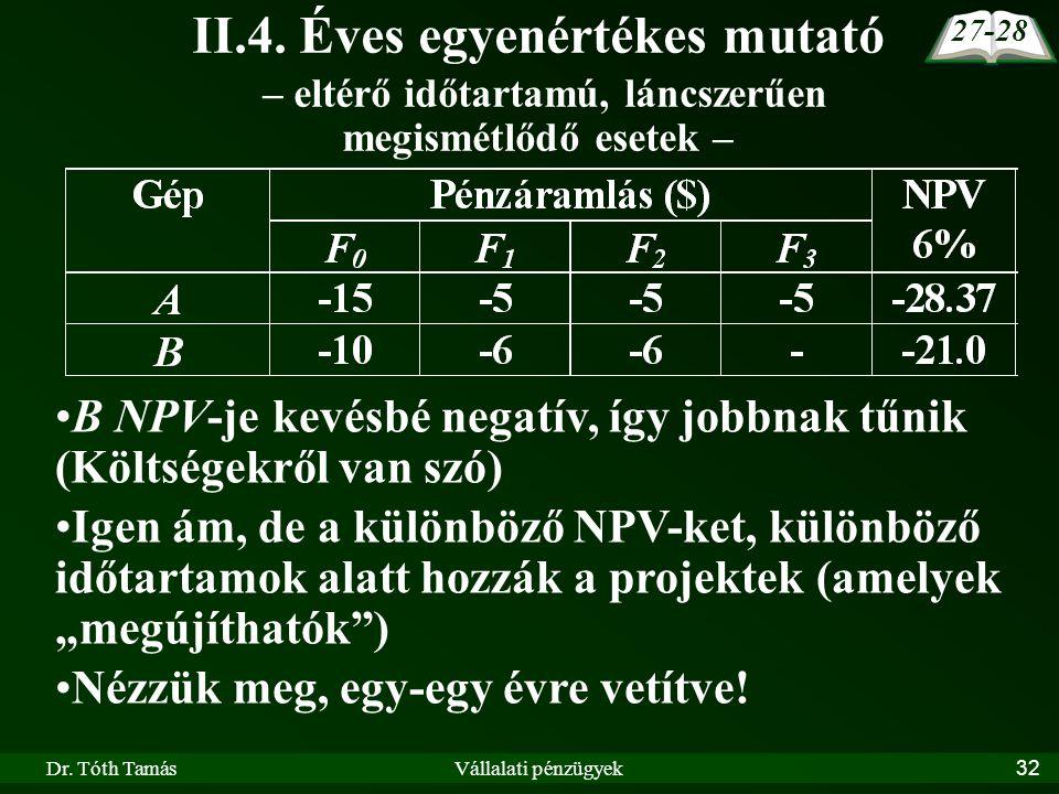 27-28 II.4. Éves egyenértékes mutató – eltérő időtartamú, láncszerűen megismétlődő esetek –