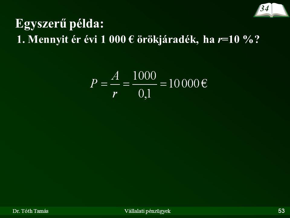 Egyszerű példa: 1. Mennyit ér évi 1 000 € örökjáradék, ha r=10 % 34