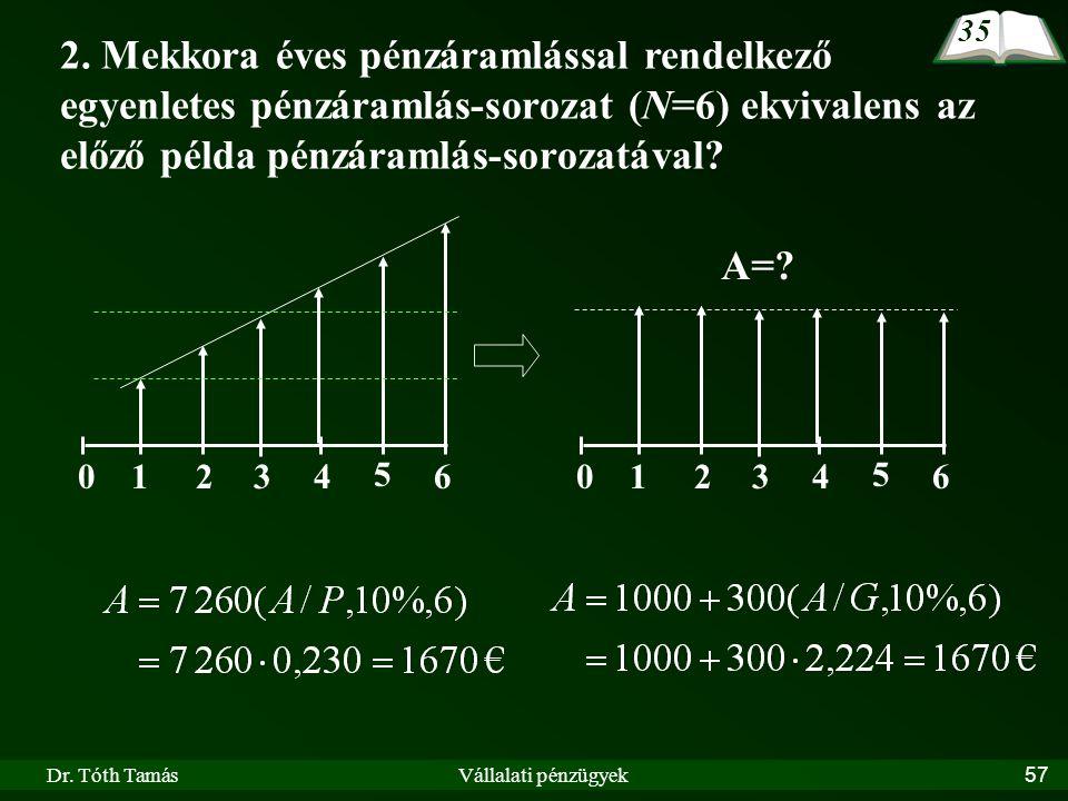 35 2. Mekkora éves pénzáramlással rendelkező egyenletes pénzáramlás-sorozat (N=6) ekvivalens az előző példa pénzáramlás-sorozatával
