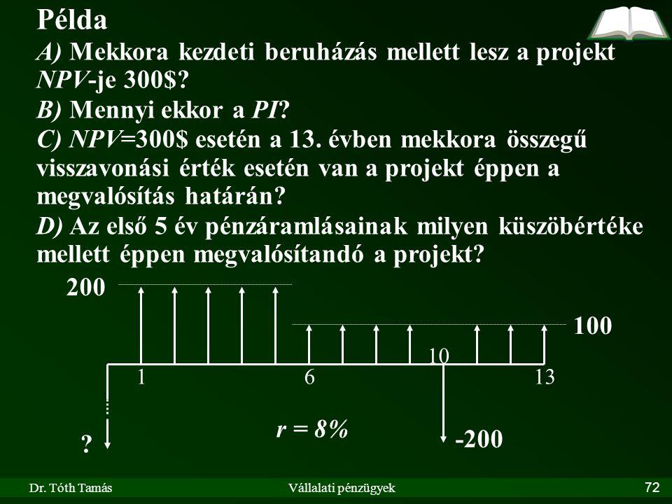Példa A) Mekkora kezdeti beruházás mellett lesz a projekt NPV-je 300$