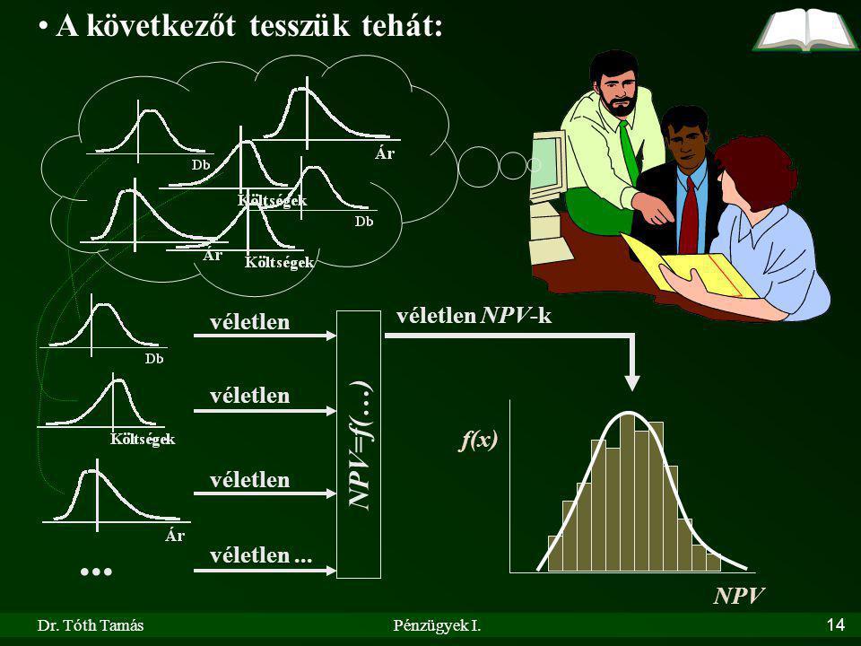 ... A következőt tesszük tehát: NPV=f(…) véletlen NPV-k véletlen f(x)