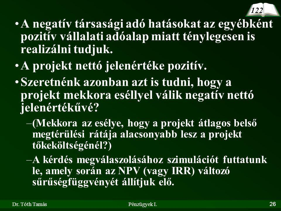 A projekt nettó jelenértéke pozitív.