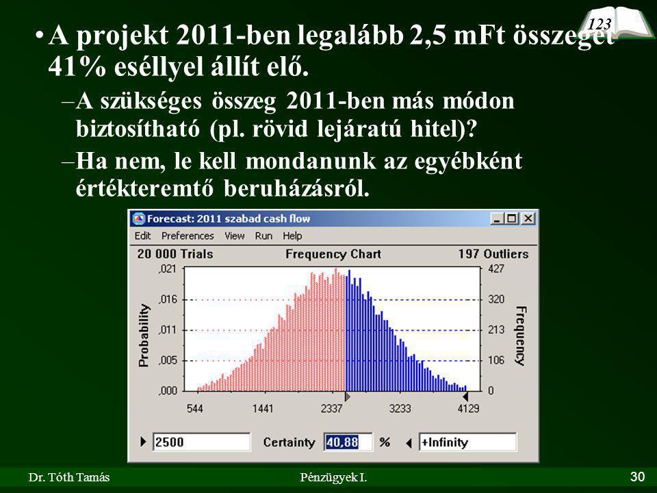 A projekt 2011-ben legalább 2,5 mFt összeget 41% eséllyel állít elő.