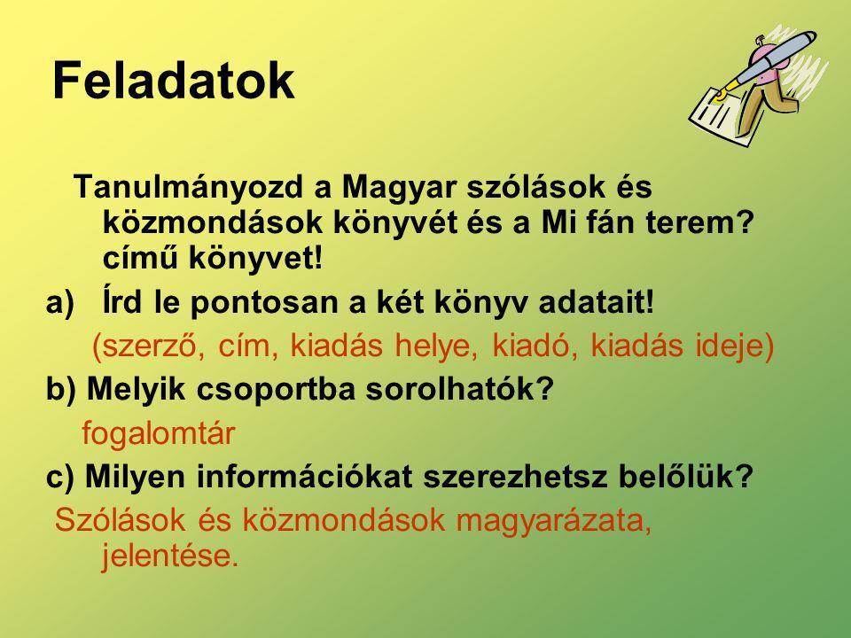 Feladatok Tanulmányozd a Magyar szólások és közmondások könyvét és a Mi fán terem című könyvet! Írd le pontosan a két könyv adatait!
