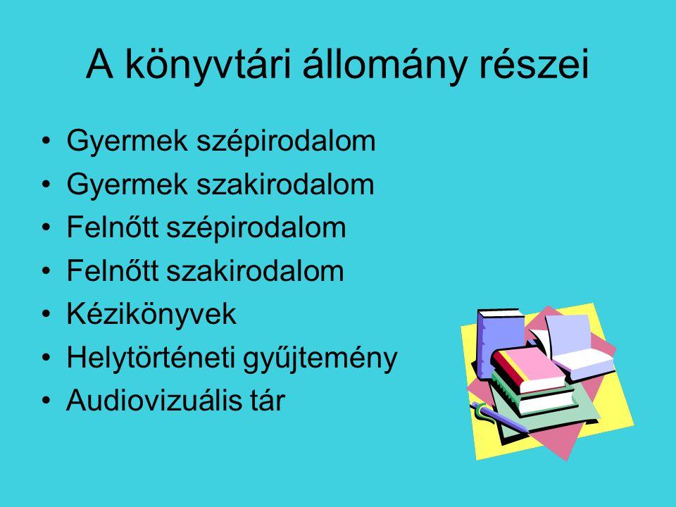 A könyvtári állomány részei