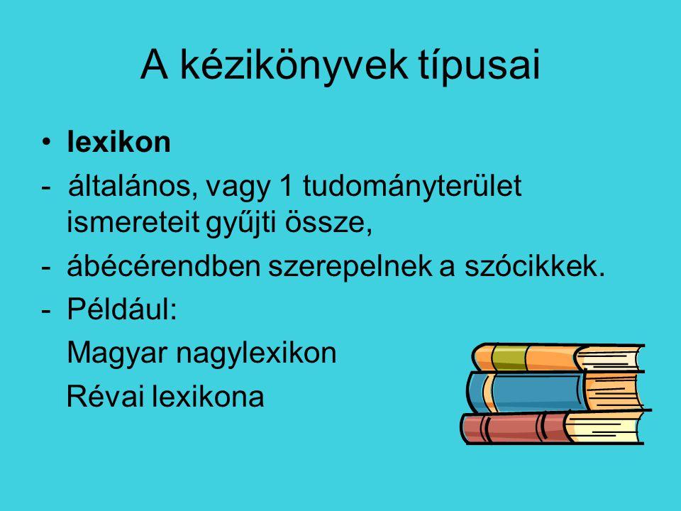 A kézikönyvek típusai lexikon