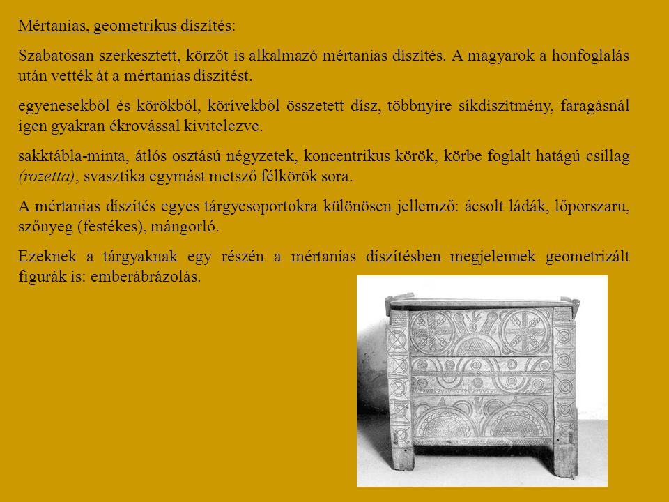 Mértanias, geometrikus díszítés: