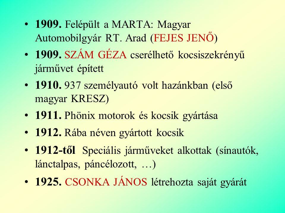 1909. Felépült a MARTA: Magyar Automobilgyár RT. Arad (FEJES JENŐ)