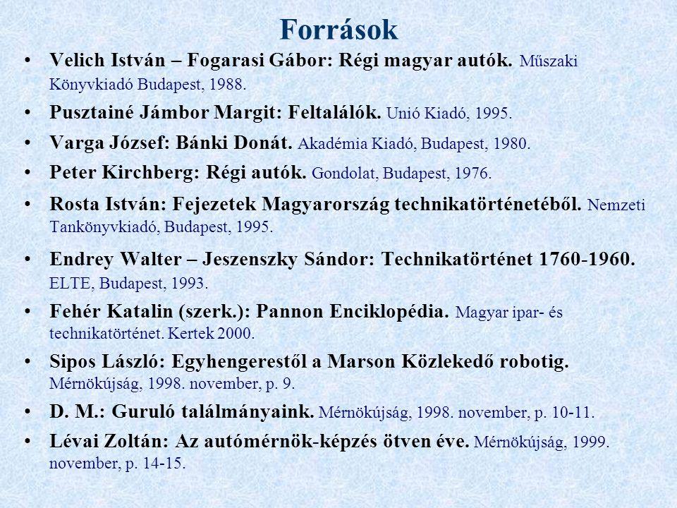 Források Velich István – Fogarasi Gábor: Régi magyar autók. Műszaki Könyvkiadó Budapest, 1988.