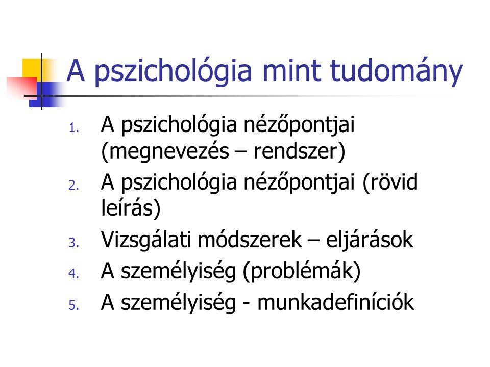 A pszichológia mint tudomány