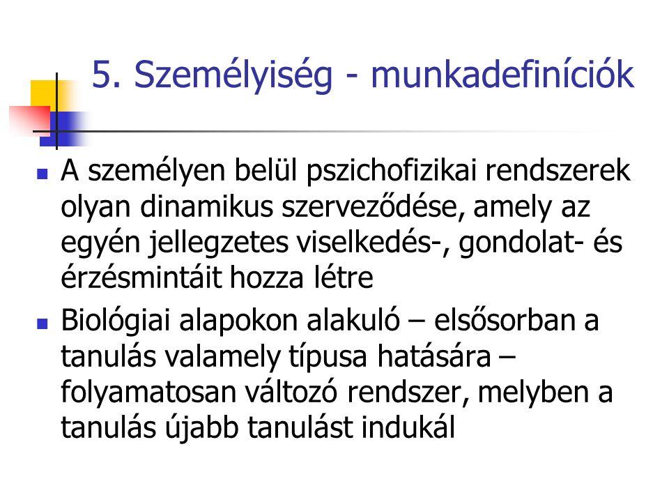5. Személyiség - munkadefiníciók