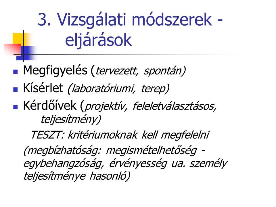 3. Vizsgálati módszerek - eljárások