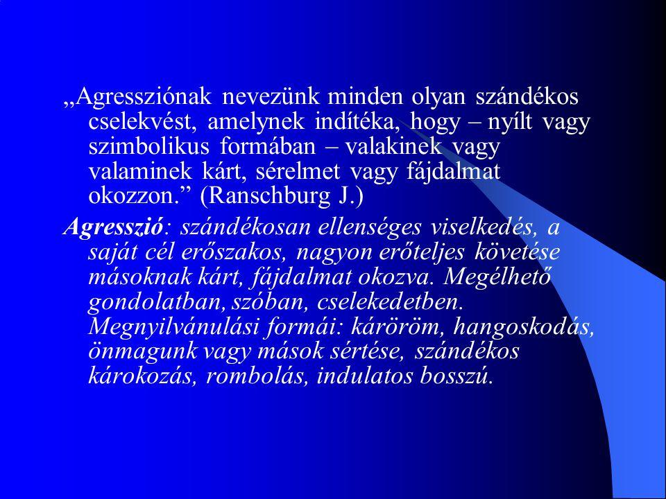"""""""Agressziónak nevezünk minden olyan szándékos cselekvést, amelynek indítéka, hogy – nyílt vagy szimbolikus formában – valakinek vagy valaminek kárt, sérelmet vagy fájdalmat okozzon. (Ranschburg J.)"""