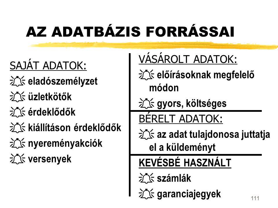 AZ ADATBÁZIS FORRÁSSAI