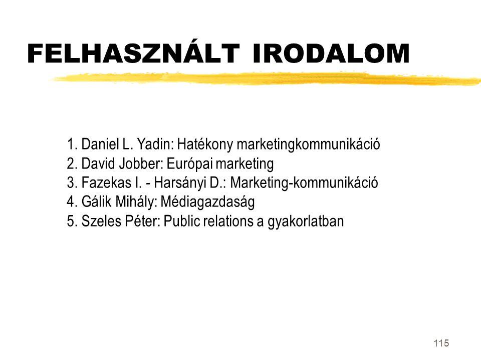 FELHASZNÁLT IRODALOM 1. Daniel L. Yadin: Hatékony marketingkommunikáció. 2. David Jobber: Európai marketing.