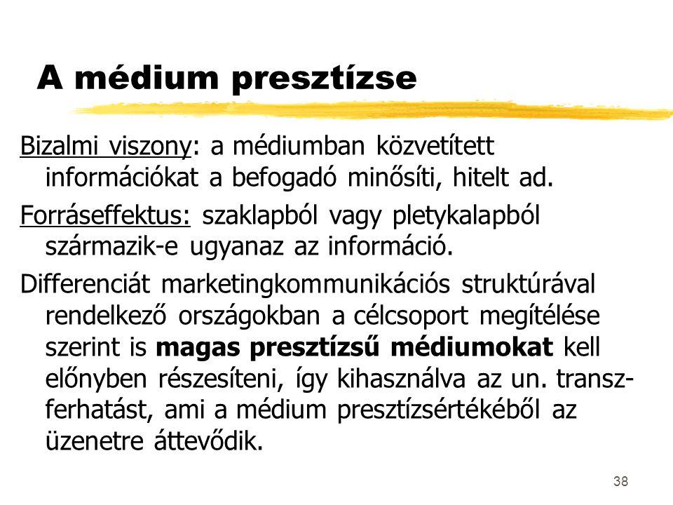 A médium presztízse Bizalmi viszony: a médiumban közvetített információkat a befogadó minősíti, hitelt ad.