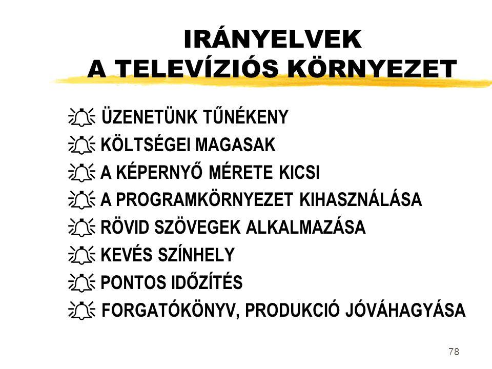 IRÁNYELVEK A TELEVÍZIÓS KÖRNYEZET