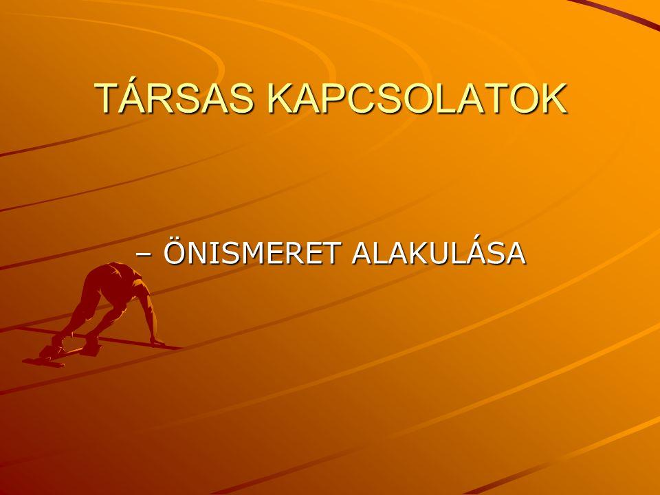 TÁRSAS KAPCSOLATOK – ÖNISMERET ALAKULÁSA