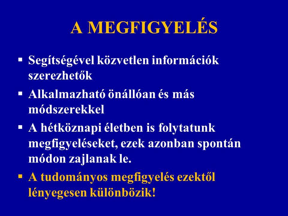 A MEGFIGYELÉS Segítségével közvetlen információk szerezhetők
