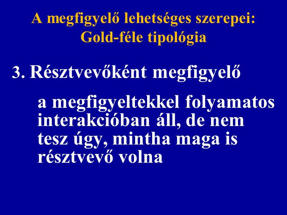 A megfigyelő lehetséges szerepei: Gold-féle tipológia