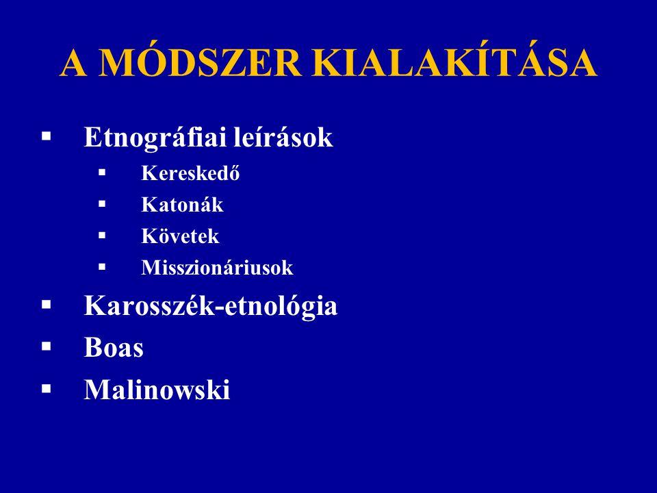 A MÓDSZER KIALAKÍTÁSA Etnográfiai leírások Karosszék-etnológia Boas