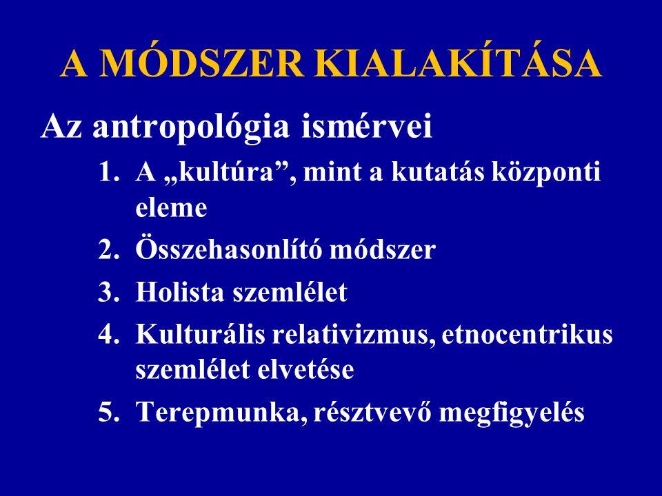 A MÓDSZER KIALAKÍTÁSA Az antropológia ismérvei