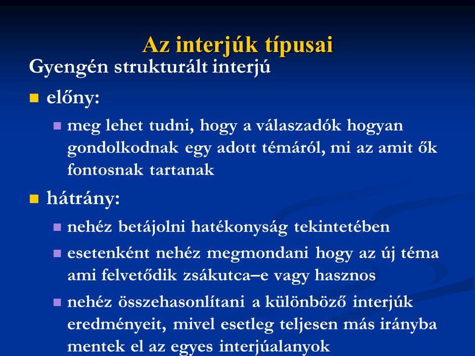 Az interjúk típusai Gyengén strukturált interjú előny: hátrány: