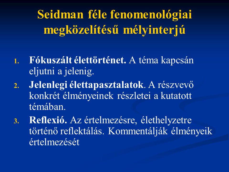 Seidman féle fenomenológiai megközelítésű mélyinterjú