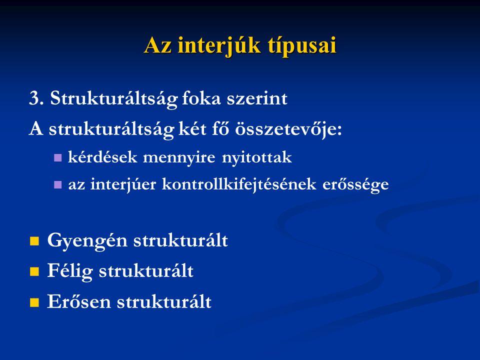 Az interjúk típusai 3. Strukturáltság foka szerint