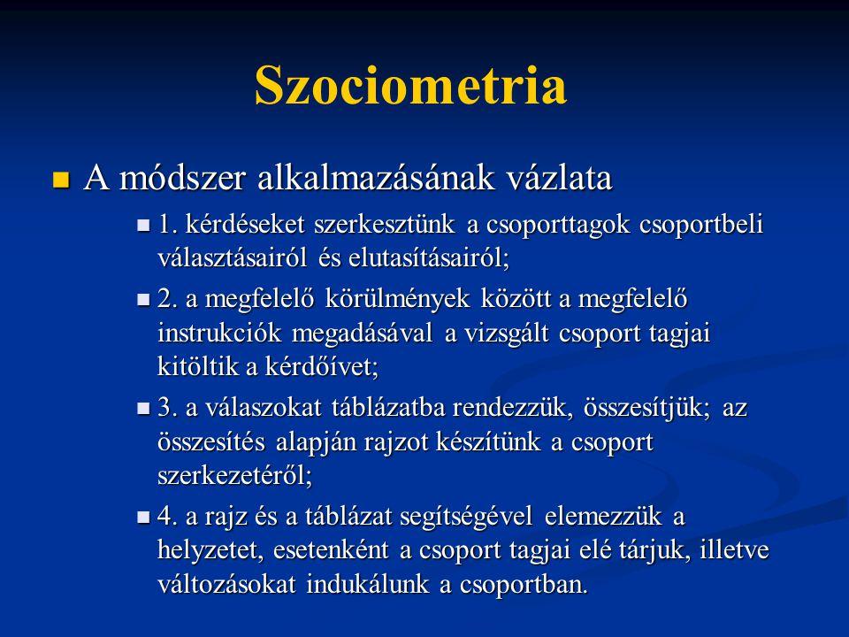 Szociometria A módszer alkalmazásának vázlata