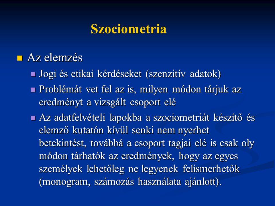 Szociometria Az elemzés Jogi és etikai kérdéseket (szenzitív adatok)