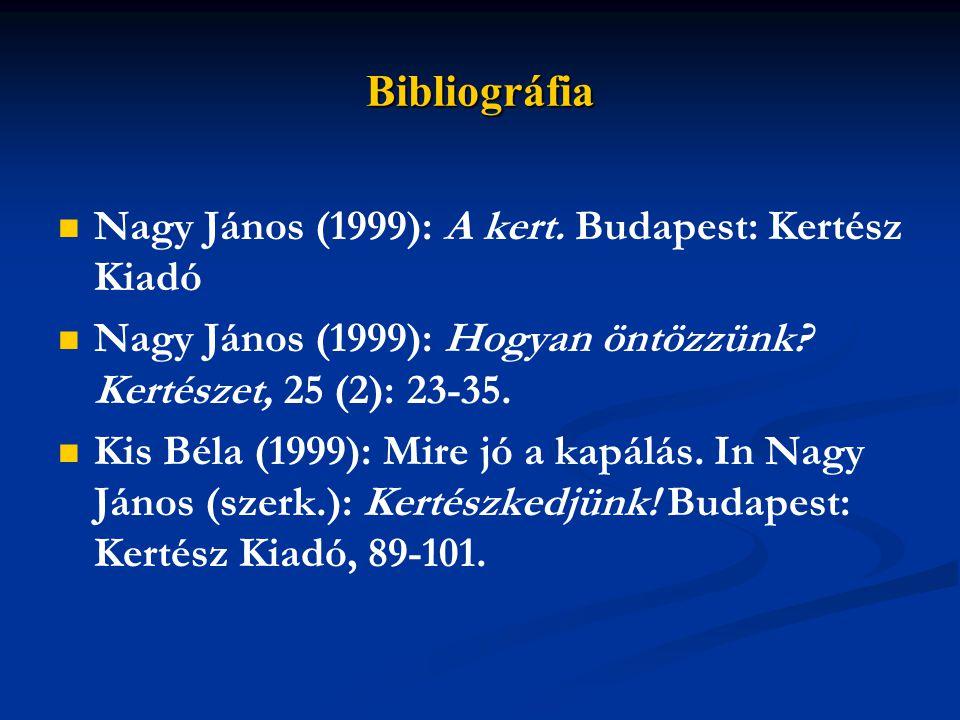 Bibliográfia Nagy János (1999): A kert. Budapest: Kertész Kiadó